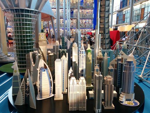 Foto van de Expositie Vertical Cities in de Library TU
